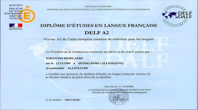 Chứng chỉ Tiếng Pháp A